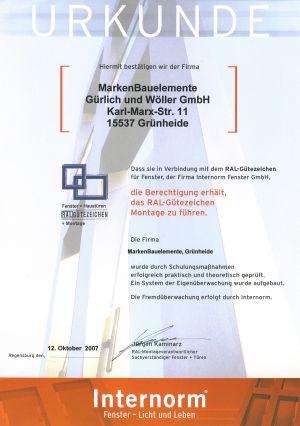 Urkunde: RAL-Gütezeichen Montage